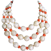 SALE PENDING Vintage Boucher Necklace Pearlized Lucite with Faux Coral Beads