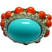 KJL RIng Faux Turquoise and Faux Coral Designer