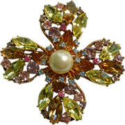 Large 1950's Crown Trifari Flower Brooch Pastel Rhinestones Faux Pearl