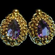 14k and Amethyst Earrings 1.7 ct
