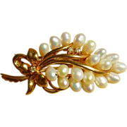 14k Cultured Pearl and Diamond Pendant or Brooch Bouquet