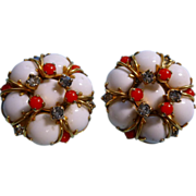 Hattie Carnegie Earrings White and Red Plastic with Rhinestones