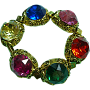Bracelet with Large Glass Stones Multicolor
