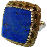 Hand Crafted Lapis and 14k Gold Ring Beautiful Setting
