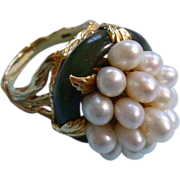Large 14k Jade and Pearl Statement Ring 50s