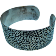 Sterling Silver Cuff Bracelet with Embossed Lizard Skin