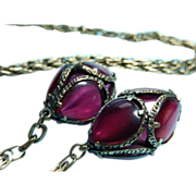Trifari Renaissance Lariat Necklace Poured Glass Ruby