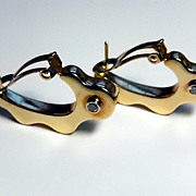 14k Earrings with Diamonds Sculptural Bold Abstract Wavy Design