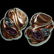 Large Hollow 14k Multi Gemstone Earrings Puffed Earrings