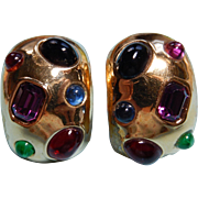 Ciner Gem Encrusted Earrings Gold Plate