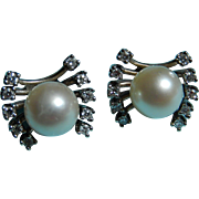 14k Cultured Pearl and Diamond Earrings