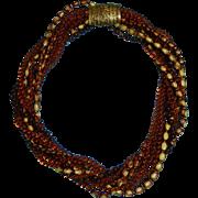 Vintage Selini/Selro Torsade Plastic Necklace Brown Orange Fall Colors