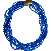 Vintage Selini/Selro Torsade Plastic Necklace Blue Colors for winter and summer