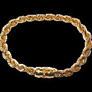 14k Rope Bracelet with Diamond Clasp