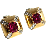Ciner Earrings Faux Ruby with Faux Diamond Gems Clip On