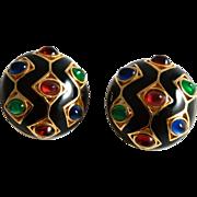 Ciner Earrings Black Enamel and Glass Gems Clip Ons