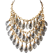 Crystal Bib Necklace 30s - 40s Statement Piece Russian Gold Gilt