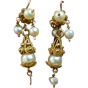 Antique Pearl and 12k Dangle Earrings Cannetille