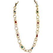 ST JOHN Couture Statement Necklace Gold Caviar with Jewel Colored Glass Cabochons Very Royal
