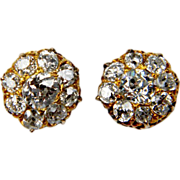 Victorian Old Mine Cut Diamond Cluster Earrings