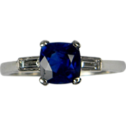Sapphire & Baguette Diamond Ring set in platinum