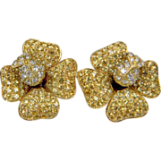 Yellow diamond and white diamond French flower earrings 0908