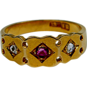 Natural ruby and rose cut diamond 18ct hallmarked gold ring