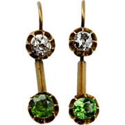 Demantoid Garnet and Diamond drop earrings (1127)