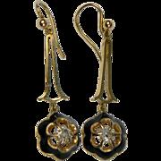 Cushion cut Diamond drop Earrings, Black enamel surround (1129)