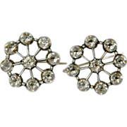Black Dot 18th Century White Paste Cluster Earrings