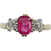 Natural Ruby and Old Mine Cut Diamond Three Stone Ring