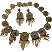 Etruscan Revival Filigree and Tassel Necklace and Earring Suite