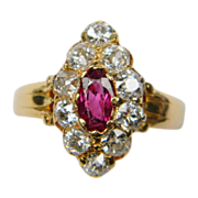 Natural Ruby and Old Cut Diamond Marquise Shaped Ring