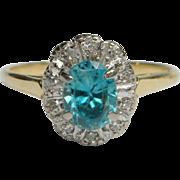 Bright Blue Zircon & Diamond Ring