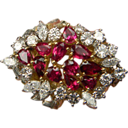 Unique Ruby & Diamond 1960's Cocktail Ring