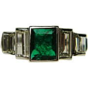 Art Deco Emerald and Baguette Diamond Ring