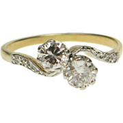 Edwardian Two Stone Diamond Cross Over Engagement Ring