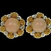 1960's Angel Skin Coral & Diamond Earrings