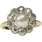 Edwardian Natural Pearl and Diamond Cluster Ring
