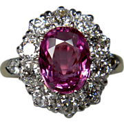 Natural Raspberry Pink Sapphire and Diamond Ring