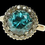 Bright Blue Zircon and Diamond Ring