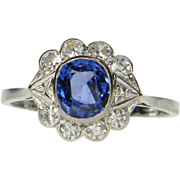 Antique Ceylon Sapphire Art Deco Ring