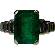 Large Emerald and Diamond Ring