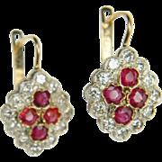 Edwardian Ruby and Diamond Drop Earrings