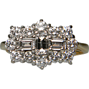 Baguette Diamond and Diamond Ring set in 18ct Yellow Gold