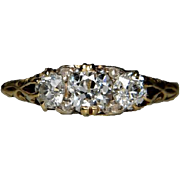 Victorian Three Stone Cushion Cut Carved Half Hoop Ring