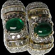 Cabochon Emerald and Baguette Diamond Earrings