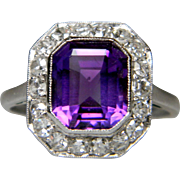 Art Deco Amethyst and Diamond Ring