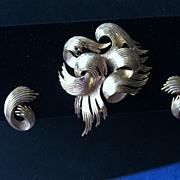 Crown Trifari Swirl Brooch and Earrings
