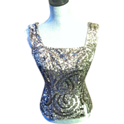 Silver Sequin Top and Grey Wool Jersey Designer Cocktail Ensemble